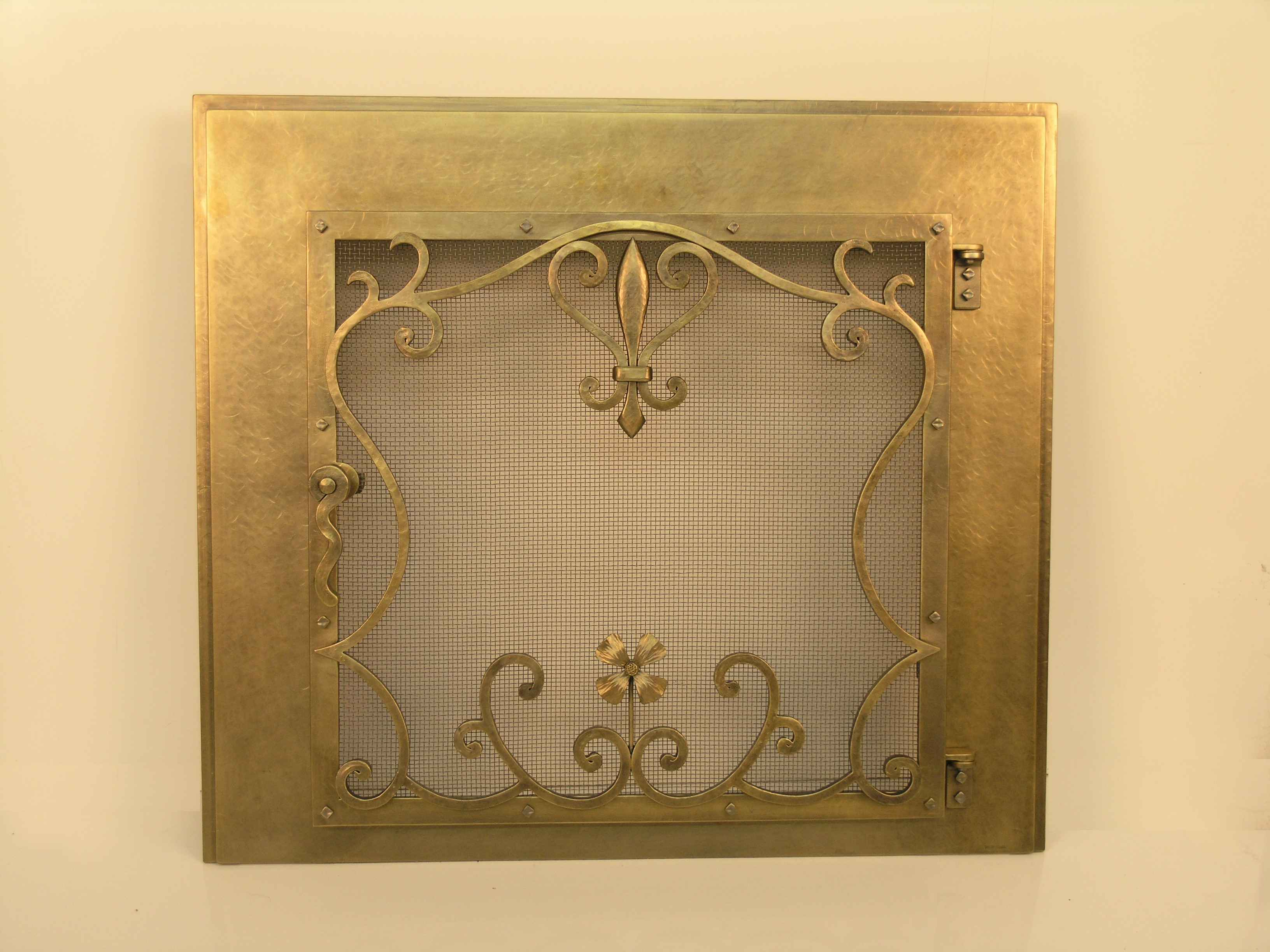 Flower Scrolls In Bronze Fire Screen